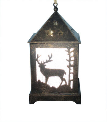 Maker's Holiday Woodland Lodge Reindeer LED Lantern Ornament-Bronze