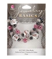 Jewelry Basics Large Hole Glass Bead Mix 33/Pkg-Black/Purple, , hi-res