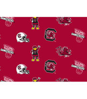 "University of South Carolina Gamecocks Fleece Fabric 58""-All Over, , hi-res"