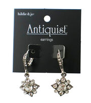 hildie & jo™ Antiquist Flower Silver Earrings-Clear Crystals, , hi-res