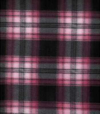 "Blizzard Fleece Fabric 58""-Black Pink Plaid"