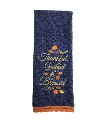 Fall Into Color Velour & Terry Hand Towel-Thankful, Grateful & Blessed