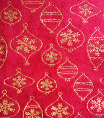 """Sew Sweet Velvet Fabric 58""""-Red & Gold"""