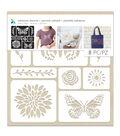 Momenta 8 Pack 10x10\u0027\u0027 Adhesive Fabric Stencils-Butterfly & Flowers