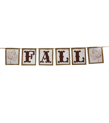 Fall Into Color Burlap Banner-Fall & Leaf