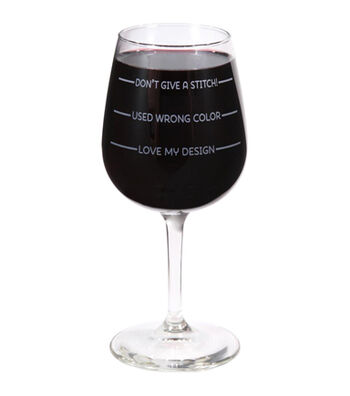K1C2 Stitch Happy Wine Glass In Box 12 oz-Don't Give A Stitch