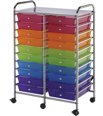 Double Storage Cart w/20 Drawers-Multicolor