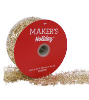 Maker's Holiday Christmas Tinsel Mesh Ribbon 1.5''X30'-Gold, , hi-res