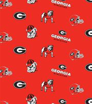 "University of Georgia Bull Dogs Cotton Fabric 43""-Red, , hi-res"