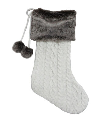 Maker's Holiday Christmas Knit & Fur Stocking with Pom Pom-White & Brown