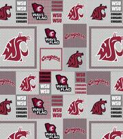 "Washington State University Cougars Fleece Fabric 58""-Gray Block, , hi-res"