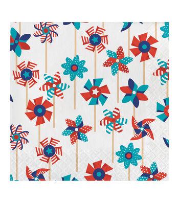 Americana Patriotic 20 Pack Paper Lunch Napkins-Pinwheel