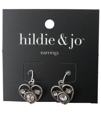 hildie & jo™ Heart Scroll Silver Earrings-Clear Crystals