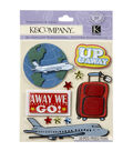 K&Company 10 pk Dimensional Stickers-Travel & Airplanes