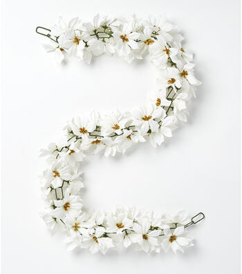 Blooming Holiday Christmas 66'' Poinsettia Chain Garland-White