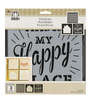 "FolkArt® 8""x8"" Craft Stencil Value Pack 3pk-Home Sweet Home, , hi-res"