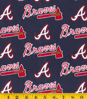 Atlanta Braves Cotton Fabric 58''-Logo, , hi-res