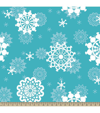 "Anti-Pill Fleece Fabric 59""-Snowflakes"