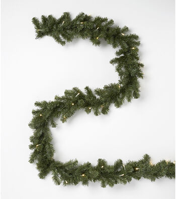 Blooming Holiday Christmas 9' Prelit PVC Canadian Pine Garland