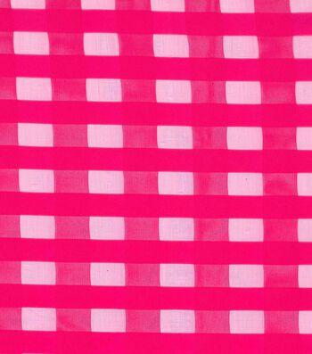 """Glitterbug Burnout Fabric 58""""-Pink Check"""