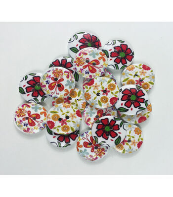 """Organic Elements Wood Buttons 3/4""""-Simple Print"""