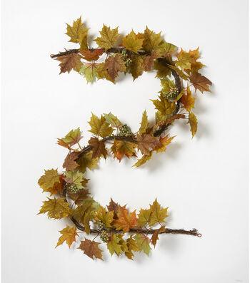 Blooming Autumn 66'' Glitter Leaf & Berry Garland-Green & Brown