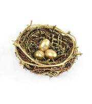 Blooming Holiday 3'' Nest With Eggs-Gold, , hi-res