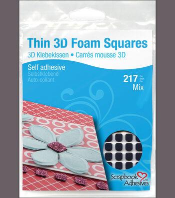 Scrapbook Adhesives Thin 3D Adhesive Foam Squares 217/Pkg-Black