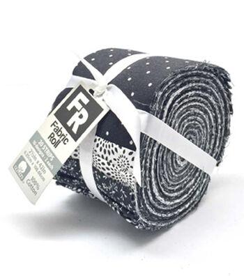 Jelly Roll Cotton Fabric 20 Strips 2.5''-Assorted Black & White Patterns
