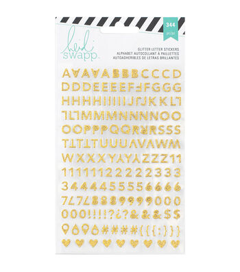 Heidi Swapp Memory Planner Alphabet Stickers 2/Sheets-Gold & Pink Glitter