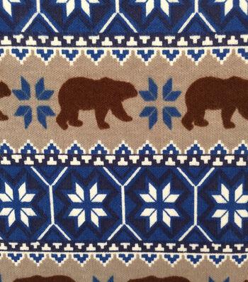 """Doodles Juvenile Apparel Fabric 57""""-Fairisle Brown Bear Interlock"""