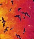 Halloween Cotton Fabric 60\u0022-Wide Ombre Bats Metallic