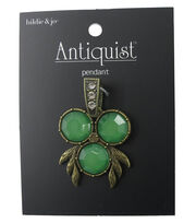 hildie & jo™ Antiquist Bug Antique Gold Pendant-Green Stones, , hi-res