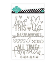 "Heidi Swapp Mixed Media Glitter Stickers 5""X7""-Silver, Love, , hi-res"