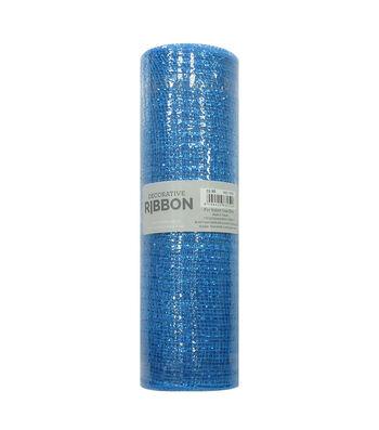 Decorative Ribbon Metallic Deco Mesh 10''x10 yds-Cobalt Blue