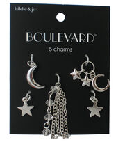 hildie & jo Boulevard 5 Pack Moon & Star Silver Charms, , hi-res
