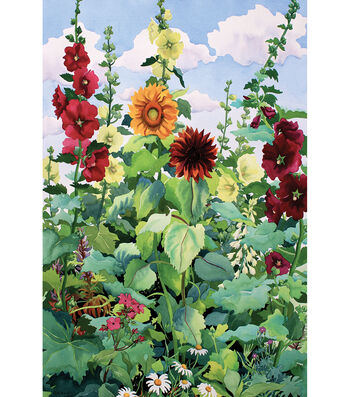 Fabric Flag 12''x18''-Hollyhocks & Sunflowers