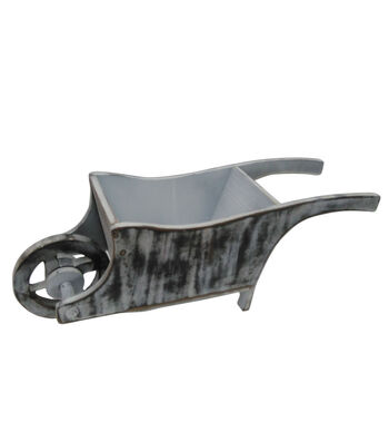 """Blooming Spring 19"""" Wheelbarrow Wood Container"""