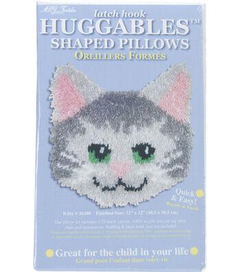 "Huggables Shaped Pillow Latch Hook Kit 12""X12""-Kitty"