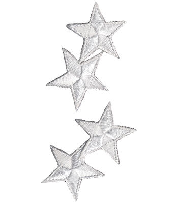 "Wrights Iron-On Appliques-White Star 1-1/4"" 4/Pkg"