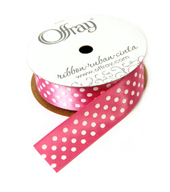Offray Satin Ribbon-White & Pink Dots