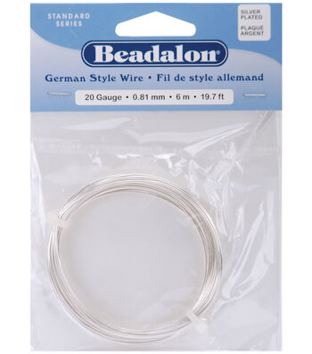 Beadalon German Style Round Wire 20 Gauge 19.7 Feet/Pkg-Silver
