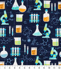Novelty Cotton Fabric 43\u0022-Chemistry Lab On Navy