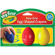 My First Crayola Easy Grip Egg Shaped Crayons 3/Pkg-Blue, Red & Yellow, , hi-res