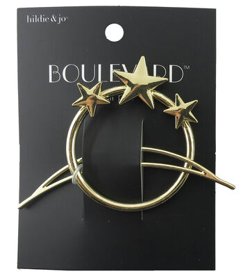 hildie & jo™ Open Circle with 3-Stars & Open Moon Gold Hair Pin