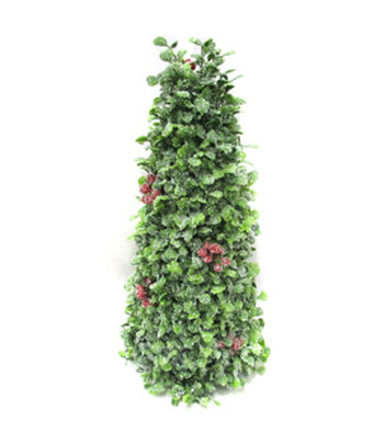 Blooming Holiday Christmas 14'' Boxwood Cone Tree with Red Berries-Green