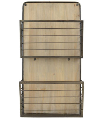 Farm Storage Double Bin Wood Wall Organizer