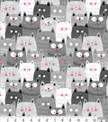 Snuggle Flannel Fabric 42\u0027\u0027-Gray Happy Cats
