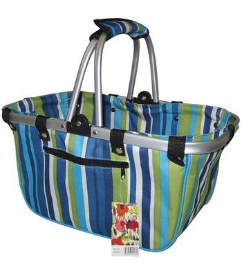 """JanetBasket Blue Stripes Large Aluminum Frame Bag-18"""" x 10"""" x 9-1/2"""""""
