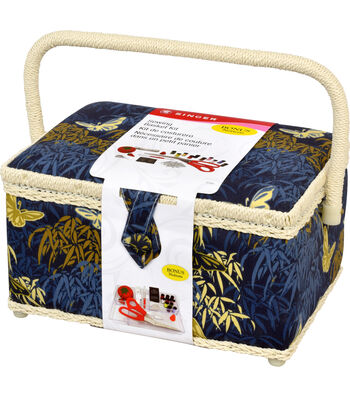 Singer® Large Sewing Basket with Notions Kit-Blue & Gold